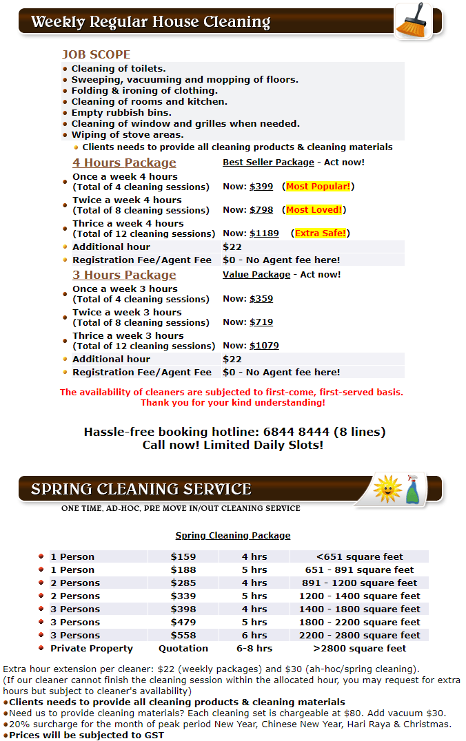 Spring Cleaning Rates